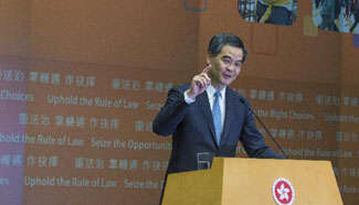 HK chief executive delivers 2015 Policy Address