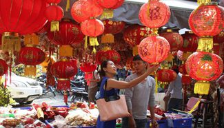 People buy Lunar New Year decorations in Phnom Penh, Cambodia