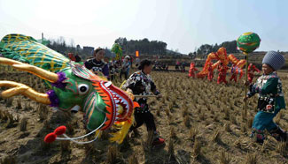Dragon dance performed in SW China to celebrate Chinese Lunar New Year