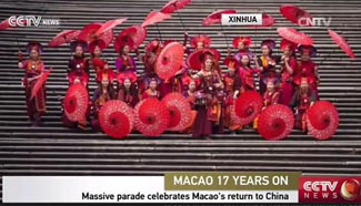 Parade held to mark 17th anniv. of Macao's return to China