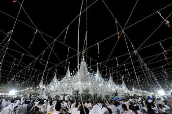 People attend prayer event on New Year's Eve in central Thailand