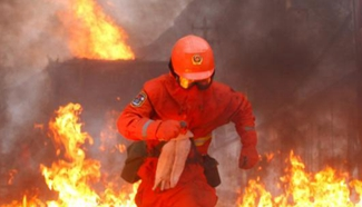 In pics: Firefighters attend training in NW China