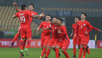 Chile beats Croatia 5-2 during China Cup Int'l Football Championship
