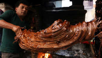 Sweet food Molasses prepared for festival and winter season by Nepalese