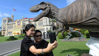 Dinosaur models seen in Bangkok before Thai Children's Day