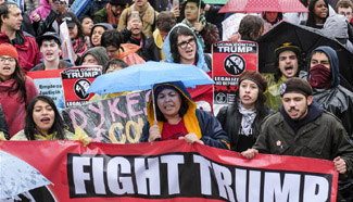 People protest against inauguration of Trump in Los Angeles
