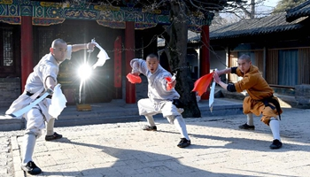 Monks practice martial arts at Shaolin Temple in central China's Henan