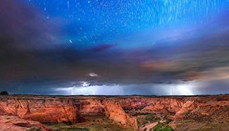 Amazing scene of Milky Way seen with storm