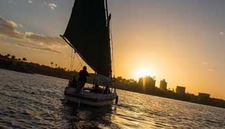 Scenery of sunset glow on Nile River near Cairo