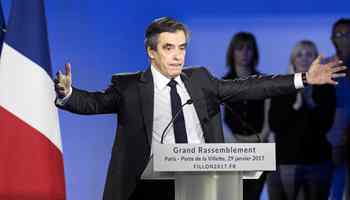 French presidential candidate Fillon delivers speech in Paris