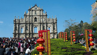 Tourists travel around Macao during Lunar New Year holiday