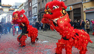 Lion dance performed in Belgium to mark Chinese Lunar New Year