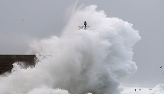 Surging waves beat against shore in NW Spain