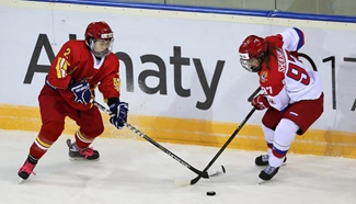 Women's ice hockey semifinal at Winter Universiade: China vs Russia