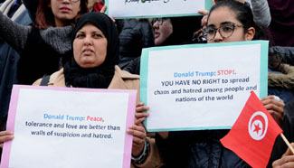 People rally against Trump's travel ban in Tunis city