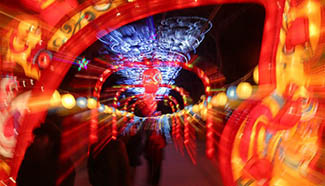 Tourists visit Spring Festival lantern fair in China's Hebei