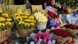 In pics: flower market in SW China's Yunnan