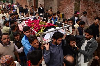 People attend funeral ceremony of suicide blast victim in Pakistan