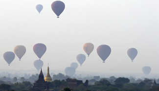 Hot air balloons seen in Mandalay region, Myanmar