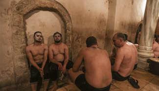 Palestinians visit traditional Turkish steam bath in Gaza