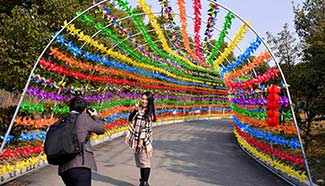 Tourists visit pinwheels decorated Tianxiang Park, E China