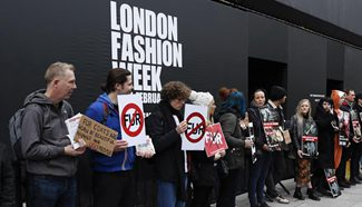 Animal cruelty protesters rally during London Fashion Week