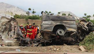 Three-vehicle collision kills 15 in NW Peru