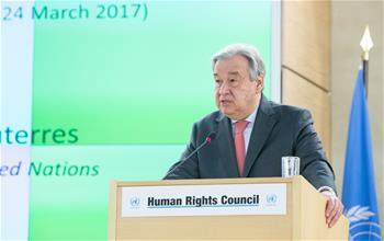 UN chief speaks at opening of 34th HRC session in Geneva