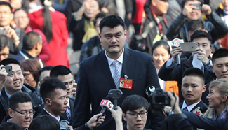CPPCC member Yao Ming receives interview in Beijing