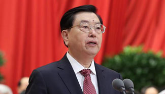 Zhang Dejiang presides over opening meeting of fifth session of China's 12th NPC