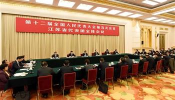 Plenary meeting of 12th NPC deputies from Jiangsu opens to media
