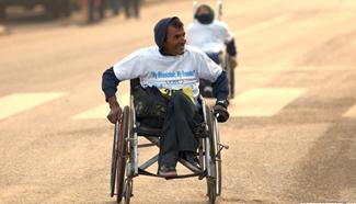 """Wheelchair Marathon"" held in Kathmandu, Nepal"