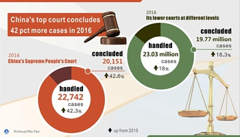 China's top court concludes 42 pct more cases in 2016