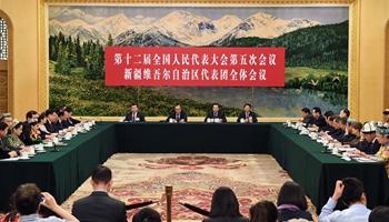 Plenary meeting of 12th NPC deputies from Xinjiang opens to media