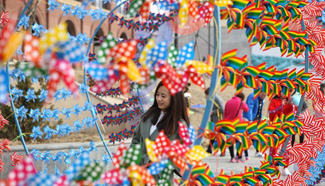 People view pinwheel decoration in NE China's Liaoning