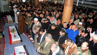 Syrians take part in funeral of slain soldiers in Damascus
