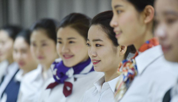 Students take part in recruitment test of Xiamen Airlines