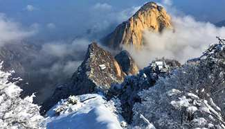 Scenery of Huashan Mountain after snow