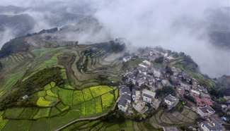 Aerial view of Shimen Village, southwest China