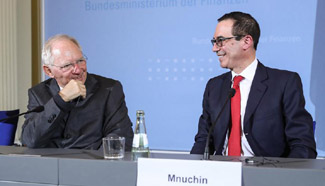 German FM meets with U.S. Treasury Secretary in Berlin