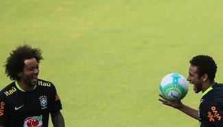 Brazilian national soccer team participate in training in Sao Paulo