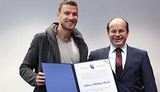 Edin Dzeko of BiH awarded with State Award for Sports in 2016