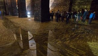 People visit Kobanya underground reservoir in Budapest, Hungary
