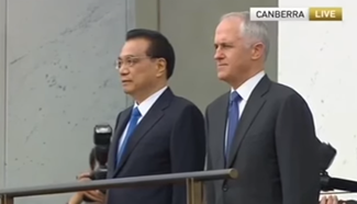 Australian PM holds welcoming ceremony for Chinese Premier Li