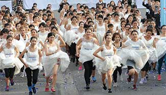 """EAZY Running of the Brides"" contest held in Bangkok, Thailand"