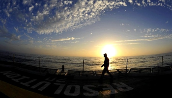 Enjoying sunset scenery of South China Sea on U.S. drilling ship