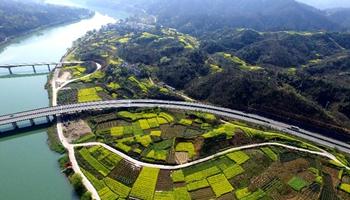 Aerial photos show Anhui segment of Huizhou-Hangzhou Highway in east China