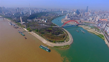 Hanjiang River, Yangtze River converging in central China's Wuhan