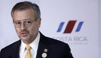 Costa Rican FM attends press conference in San Jose