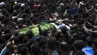 Funeral of Tauseef Ahmad Wagay held in Srinagar city, Indian-controlled Kashmir